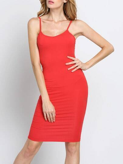 Red Slipdresses Spaghetti Strap Sheath Wiggle Dress