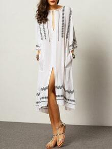 White V Neck Aztec Embroidery Split Kimono Dress