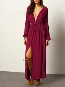 Burgundy Deep V Neck Split Maxi Dress