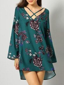 Dark Green Long Sleeve Floral Dress