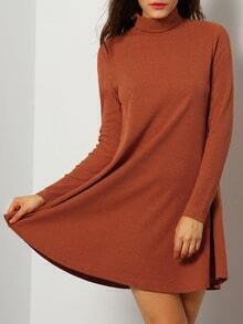 Brown Long Sleeve Casual Dress