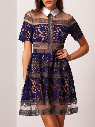 Blue Lapel Contrast Sheer Mesh Lace Dress