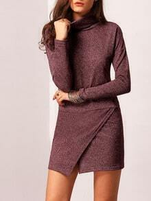 Purple Turtleneck Asymmetric Sweater Dress
