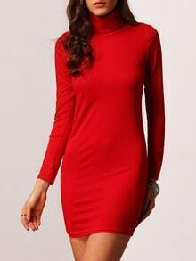 Red High Neck Slim Sweater Dress