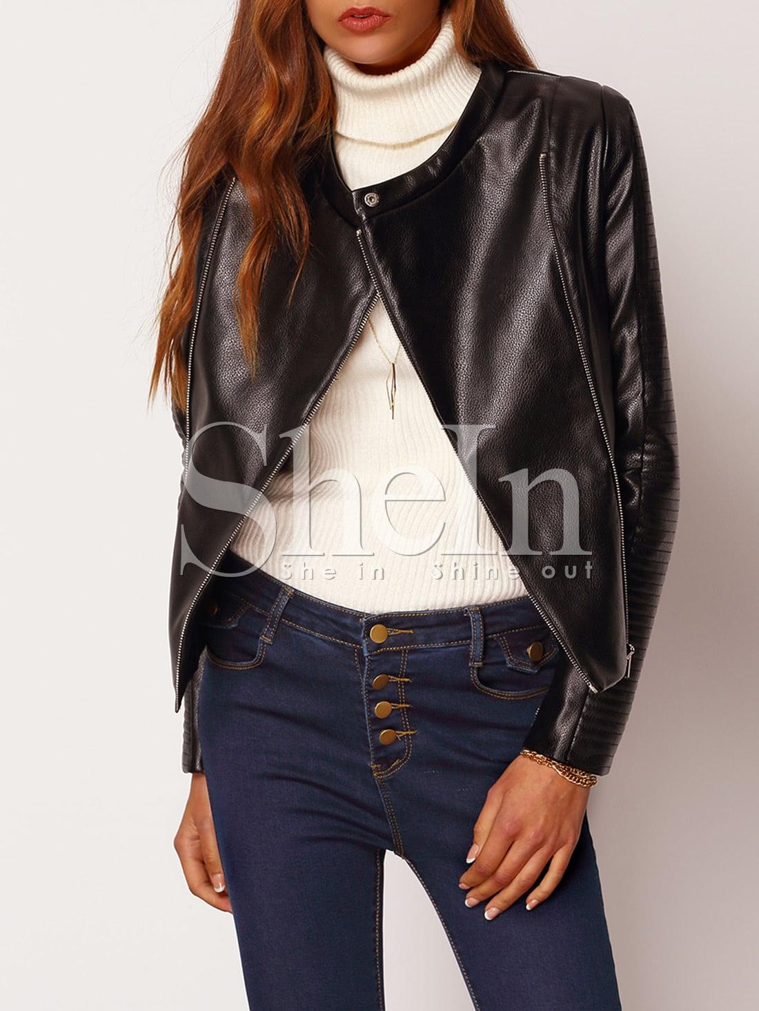 Black Long Sleeve Zipper Jacket jacket151028501