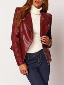 Textured Sleeve Zipper PU Leather Jacket