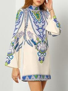 Multicolour Long Sleeve Vintage Print Dress