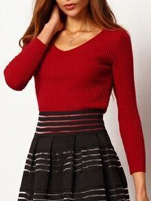 Burgundy V Neck Rib Slim Knitwear