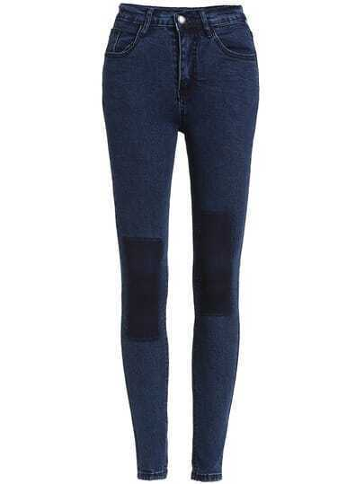 Blue Skinny Contrast Knee Denim Pant