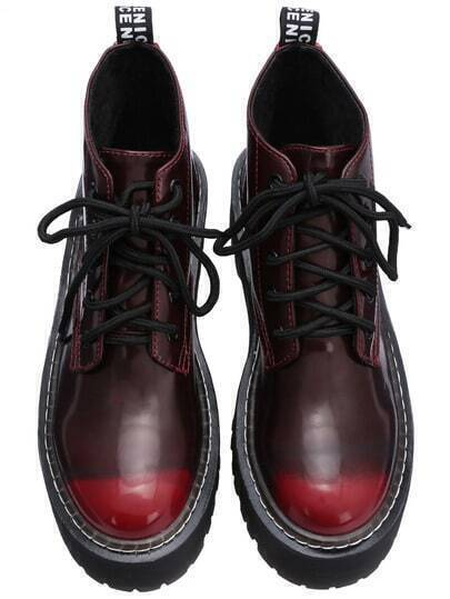 Red Round Toe Lace Up Ankle Boots