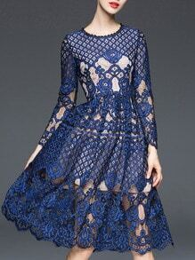 Navy Round Neck Long Sleeve Lace Dress