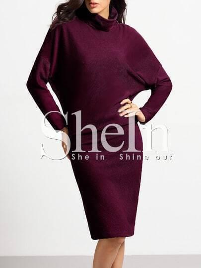 Burgundy Turtleneck Sheath Dress