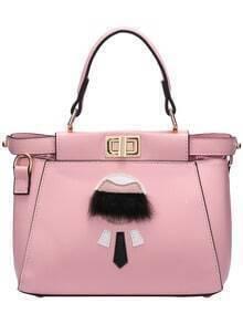 Pink Twist Lock Faux Fur Embellished PU Bag