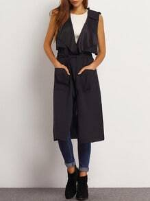 Black Shawl Collar Wrap Long Vest