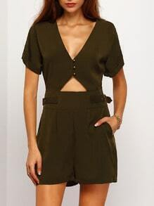 Army Green V Neck Cut Out Romper