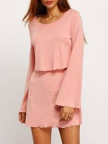 Pink Long Sleeve Backless Dress