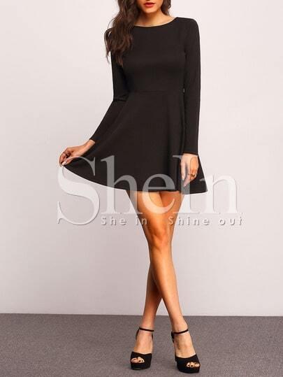 Black Round Neck Skater Dress