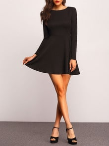 Black Round Neck Skater Dress