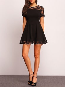Black Short Sleeve With Lace Dress
