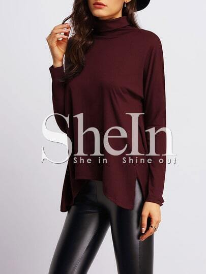 Burgundy High Neck Side Slit Asymmetrical T-Shirt pictures