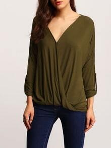 Army Green Long Sleeve V Neck T-Shirt
