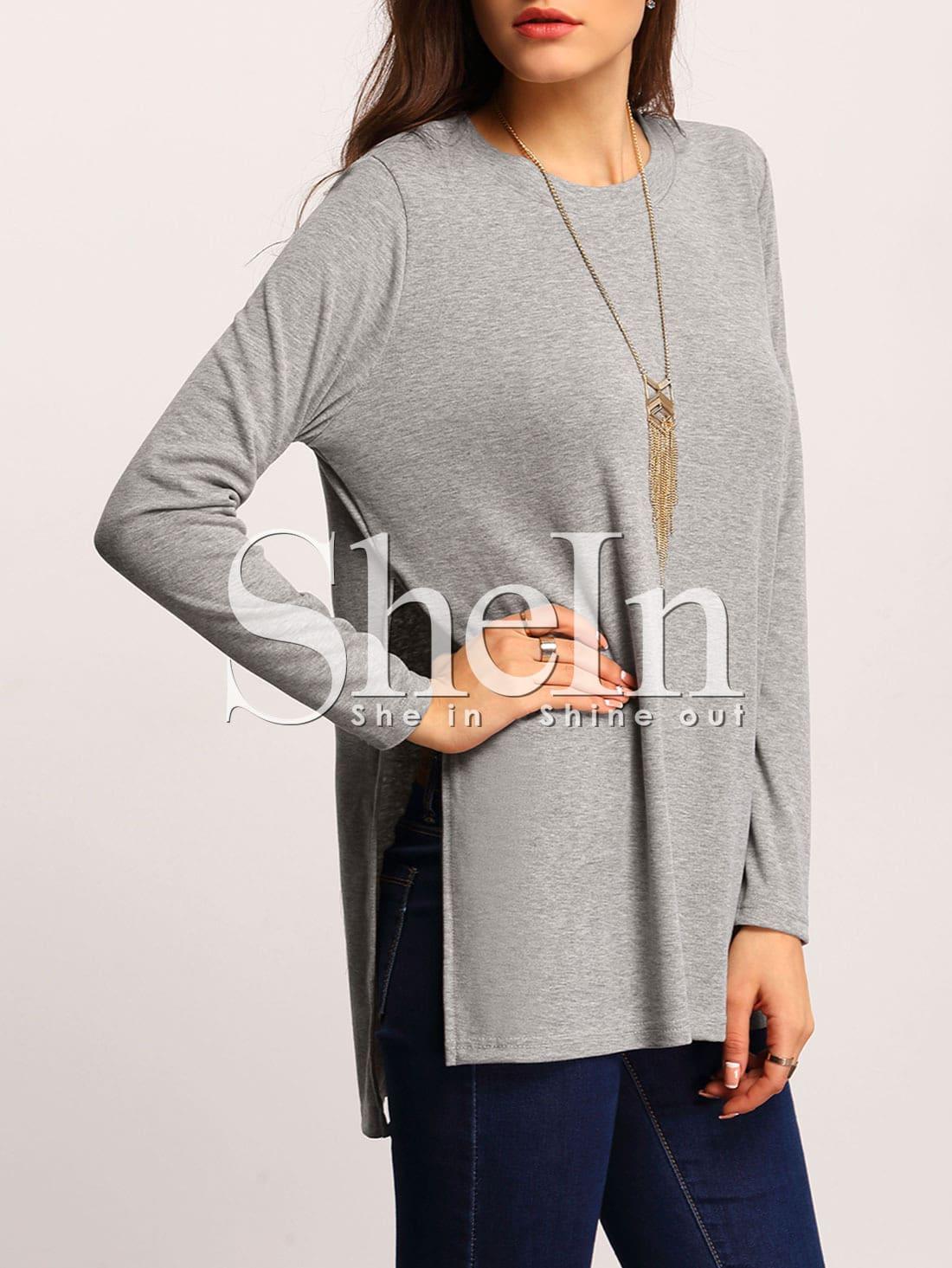 Grey Round Neck High Side Split T-Shirt tee151210703