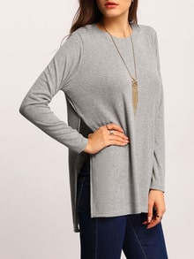 Grey Round Neck High Side Split T-Shirt