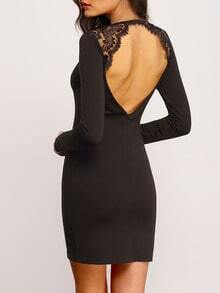 Black Backless With Lace Bodycon Dress