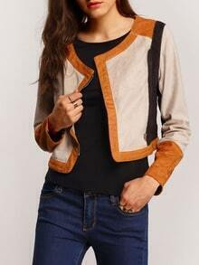 Apricot Long Sleeve Zipper Crop Jacket