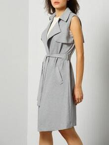 Grey Sleeveless Lapel Pockets Trench Coat