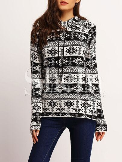 Black White Hooded Snowflake Print Sweater pictures