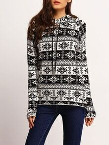 Black White Hooded Snowflake Print Sweater