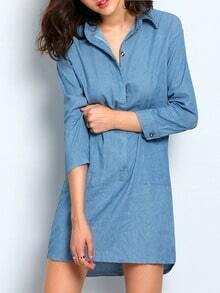 Blue Cowgirls Lapel Dip Hem Slit Denim Dress