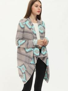 Colour Long Sleeve Geometric Print Coat