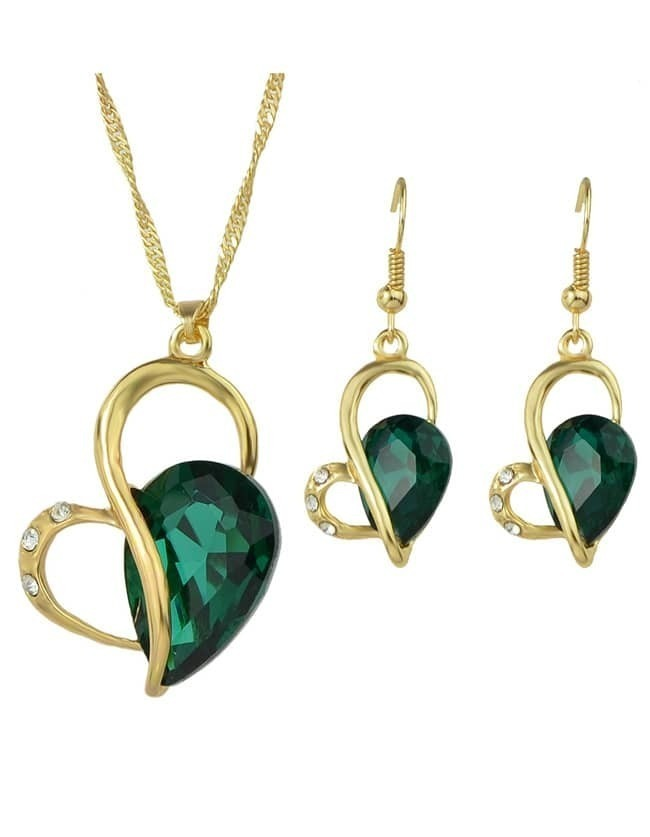 Green Heart Shape Jewelry Set