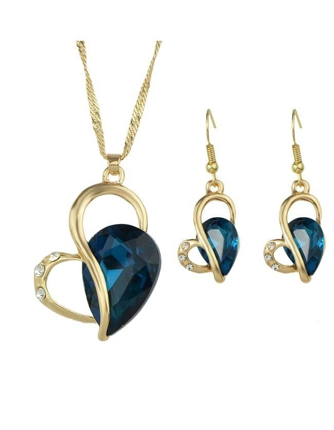 Blue Rhinestone Heart Shape Wedding Jewelry Set
