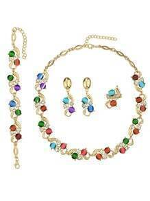 Elegant Colorful Rhinestone Jewelry Set