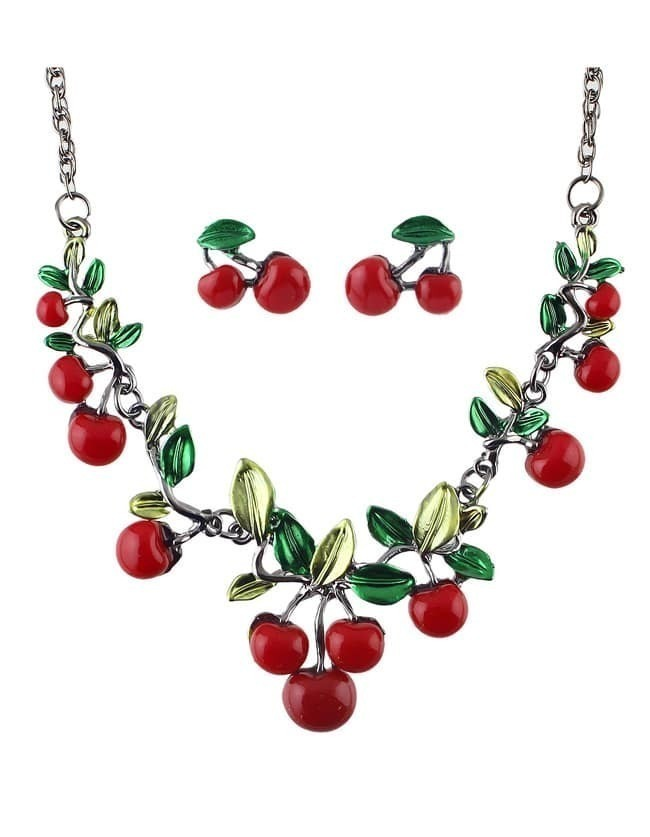 Cute Red Enamel Cherry Shape Fashion Jewelry Set