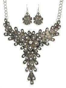 Vintage Style Atsilver Rhinestone Flower Pendant Necklace Drop Earrings Indian Jewelry Set