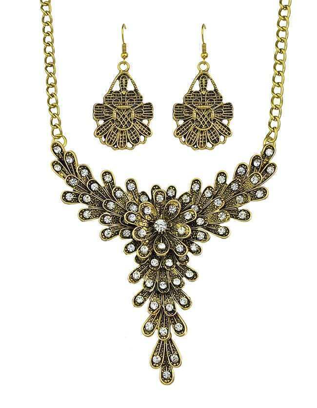 Atgold Rhinestone Flower Jewelry Set