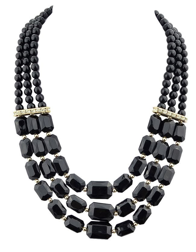 Black Acrylic and Rhinestone Beads Big Choker Necklace for Women