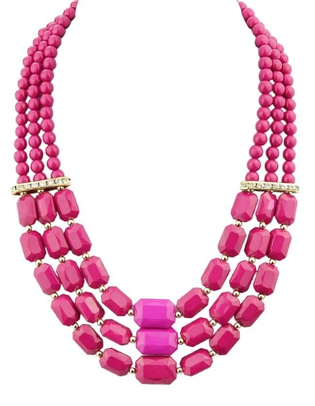 Hotpink Acrylic and Rhinestone Beads Big Choker Necklace for Women