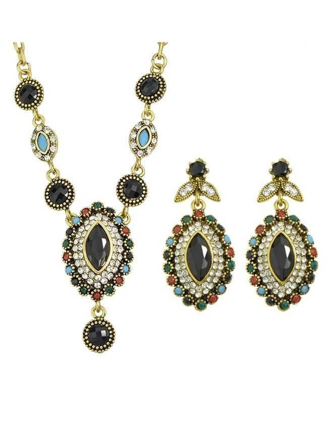 Colored Stone Costume Jewelry Set