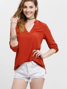 Orange Deep V Neck Adjustable Sleeve Dip Hem Blouse