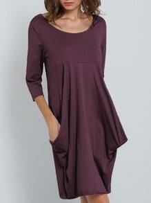 Purple Scoop Neck Pockets Shift Dress