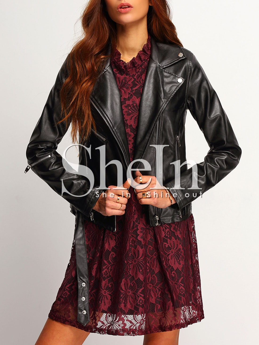 Black Long Sleeve Lapel Zipper Jackets