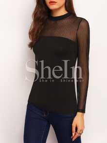Mock Neck Vertical Mesh Insert Blouse