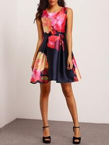Multicolor Sleeveless Floral Flare Dress