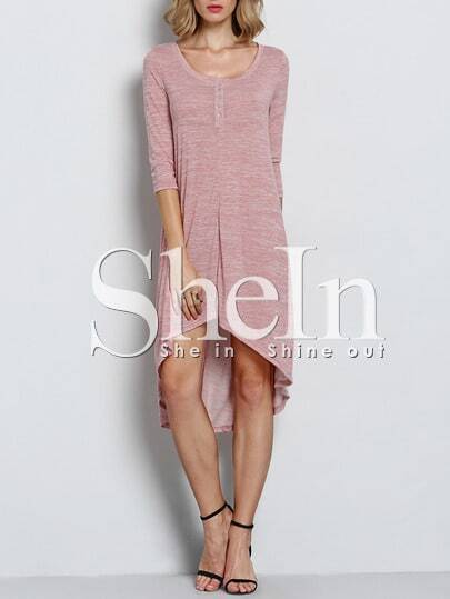 Pink Uneven High Low Casual Dress