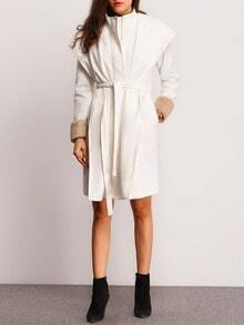 White Contrast Faux Fur Cuff Coat
